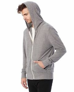 NWT Alternative Apparel Unisex Eco Grey 2XL Long Sleeve Hoodie T-shirt Hoody