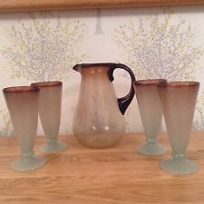 Vintage Rustic Individual hand Blown glass jug pitcher and 4 tumblers glasses