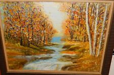 BETTY WIEGAND ORIGINAL OIL ON BOARD RIVER LANDSCAPE PAINTING
