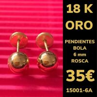 18K Pendientes Bola 6 mm Oro Amarillo 18 Kilates