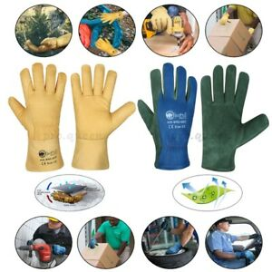 FLEECE LINED COW GRAIN LEATHER LORRY DRIVERS WORK GLOVES SAFETY DIY QUALITY