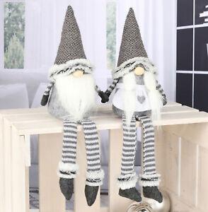 Weihnachtswichtel sitzend 2er Set - 44 cm / Mann + Frau - Weihnachtszeit Wichtel
