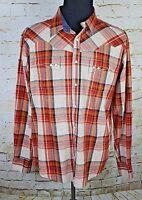 Wrangler Retro Men's Plaid Long Sleeve Pearl Snap Western Cowboy Shirt MVR197M