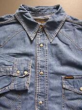 Wrangler Denim Camisa Hombre Grande Xl Extra Azul Perla Snap Botones De Colección # lshz 072