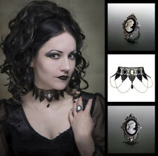 Cameo choker and ring matching set gothic goth lace necklace victorian SINISTRA