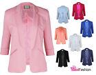 New Ladies Womens Smart Slim Fit Suit Blazer Jacket Coat 3/4 Sleeve Size 8-16 UK