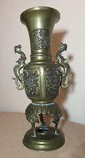 antique ornate Chinese footed figural dragon thick bronze urn vase burner pot '