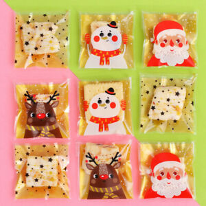 2021 NEW Christmas Cello Cellophane Party Candy Biscuit Cookie Gift Bags 50X100X