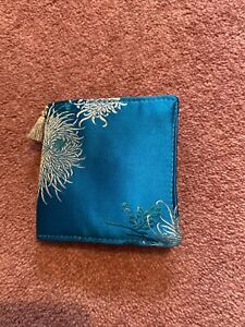 Handmade SILK Turquoise Blue Floral Needle Case Gift Sewing Craft Floral
