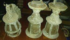 3 Antique Vintage TUDOR REVIVAL Bungalow Cottage Lantern Porch Lamp Sconce Set