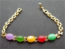Gold Plated Link Lavender Green Red Yellow Jade Cabochon Beads Bangle Bracelet