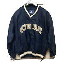 Notre Dame Vntg Pullover Jacket Fighting Irish Football Starter Mens Sz L