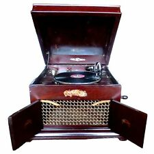 Antique Old Wooden Gramophone Working Condition Nice Sound Little Damage Corner
