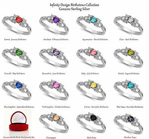 Dainty Brilliant Round Birthstone Infinity Celtic Sterling Silver Infinity Ring