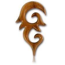 PAIR OF 0G (8MM) LONG TEAK WOOD SPIRALS STRETCHERS SPIKES PLUGS EAR PLUG HANGER