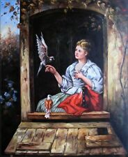 Quality Hand Painted Oil Painting Jan Portielje Lady and Pigeons 20x24in