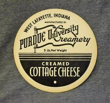 Vintage Purdue University Creamery Creamed Cottage Cheese 5lb Container Lid