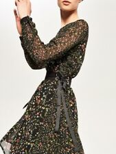 Reserved Floral Dress With Tie Waist Detail Black Size UK 12 DH097 BB 05