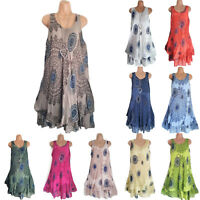 Womens Vintage Plus Size Layered Vest Dress Summer Casual Loose Mini Sundress
