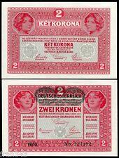 AUSTRIA AUSTRICHE 2 Kronen 1917 Pick 50 SC / UNC