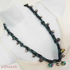 "Sparkly Glass Crystal Faceted Bead Black Green Ribbon Necklace 135cm 53"" [1744]"