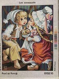 Royal Paris Les Normands Children at Night Vintage Tapestry. 47 x 37 cms