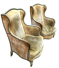 Shabby 19th Century French Bergere Chairs Original Upholstery & Paint