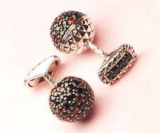 $1,795 John Hardy Naga Colorway Red Black Sapphire Ball Silver Cufflinks Men A