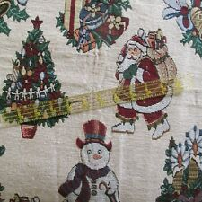 Christmas Tapestry home decor upholstery pillow fabric cream snowman 1y x 56""