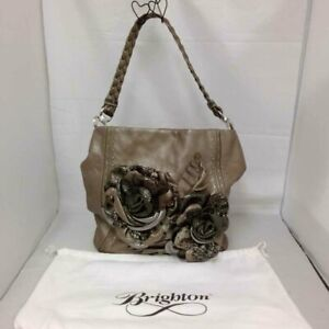 BRIGHTON GREY TWO ROSE SHOULDER BAG WITH DUSTER