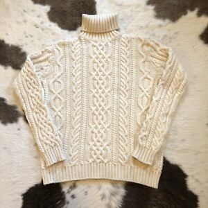 Vintage PAUL JAMES 100% Wool Chunky Cable Knit Turtleneck Sweater England Beige