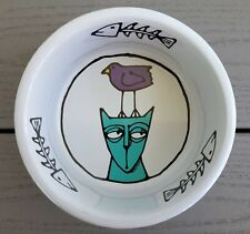 Mint Signature Ursula Dodge Jester Stoneware Cat Food Dish Water Bowl Kitty Bird