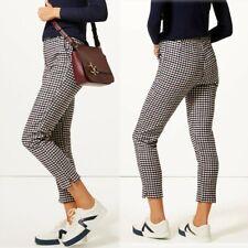 M&S Italian WOOL Blend SLIM LEG Ankle Grazer CHECKED TROUSERS ~ Size 18 Long