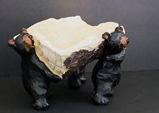 "Black Bears Holding Tree Log Wine Bottle Holder or Slanted Candy Dish 7"" x 4"""