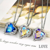 Crystal Heart Pendant Angel Wings Necklace S925 Silver  Rhinestone-studded