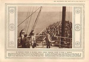 1915 Prima Guerra Mondiale Stampa ~ Cerimonia Mid-Ocean General' Amade