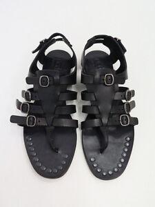 NEW Pedro Garcia Black Leather Galatea Gladiator Sandals Buckled & Studded 37