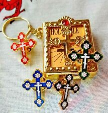 Mini Holy Bible Keyring Easter Gift Set Pin Badge Brooch Gold Cross 4 Colours &