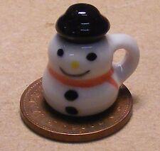 1:12 Scale Ceramic Snowman Mug Tumdee Dolls House Miniature Drink Accessory