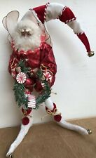 "Mark Roberts 12"" Medium Size Santa Fairy Elf Holding Garland Candy Cane"