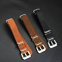 MIGEHODI Thin Calf Leather Watch Band Strap 3 Steel Rings Black Brown 20mm