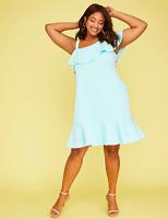 Lane Bryant One-Shoulder Ruffle Swing Dress Womens 12 Plus Iced Aqua