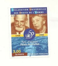 Timbre : DÉCLARATION DROITS L'HOMME 1848-1998Cassin E. Roosevelt Paris - 3209 19
