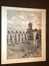 Stampa del 1886 Fucilazione di Murat da la Storia del Risorgimento di Bertolini