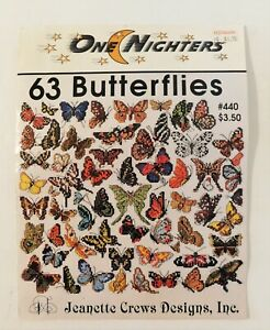 63 Butterflies Counted Cross Stitch Jeanette Crews Design #440 Enlargements Incl