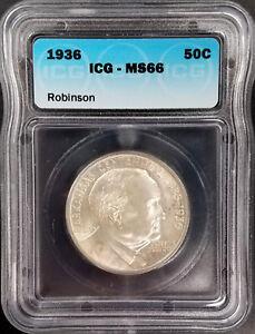 1936 Arkansas Centennial/Robinson Commemorative Half Dollar graded MS 66 by ICG!