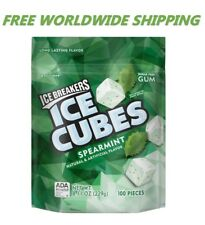 Ice Breakers Ice Cubes Spearmint Sugar Free Gum 100 Pieces FREE WORLD SHIPPING