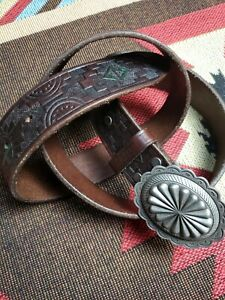 RRL Double RL Ralph Lauren Tooled Leather Western Belt