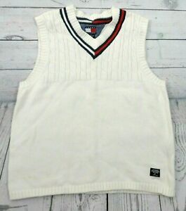 Tommy Hilfiger Cable Knit Vest Youth V-Neck Off White  Sweater Boys Kids Medium