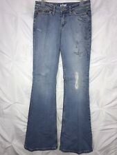 BLUE TATTOO Jeans Size 27 Embroidery Stretch Distressed Imprinted Design Lt Blue